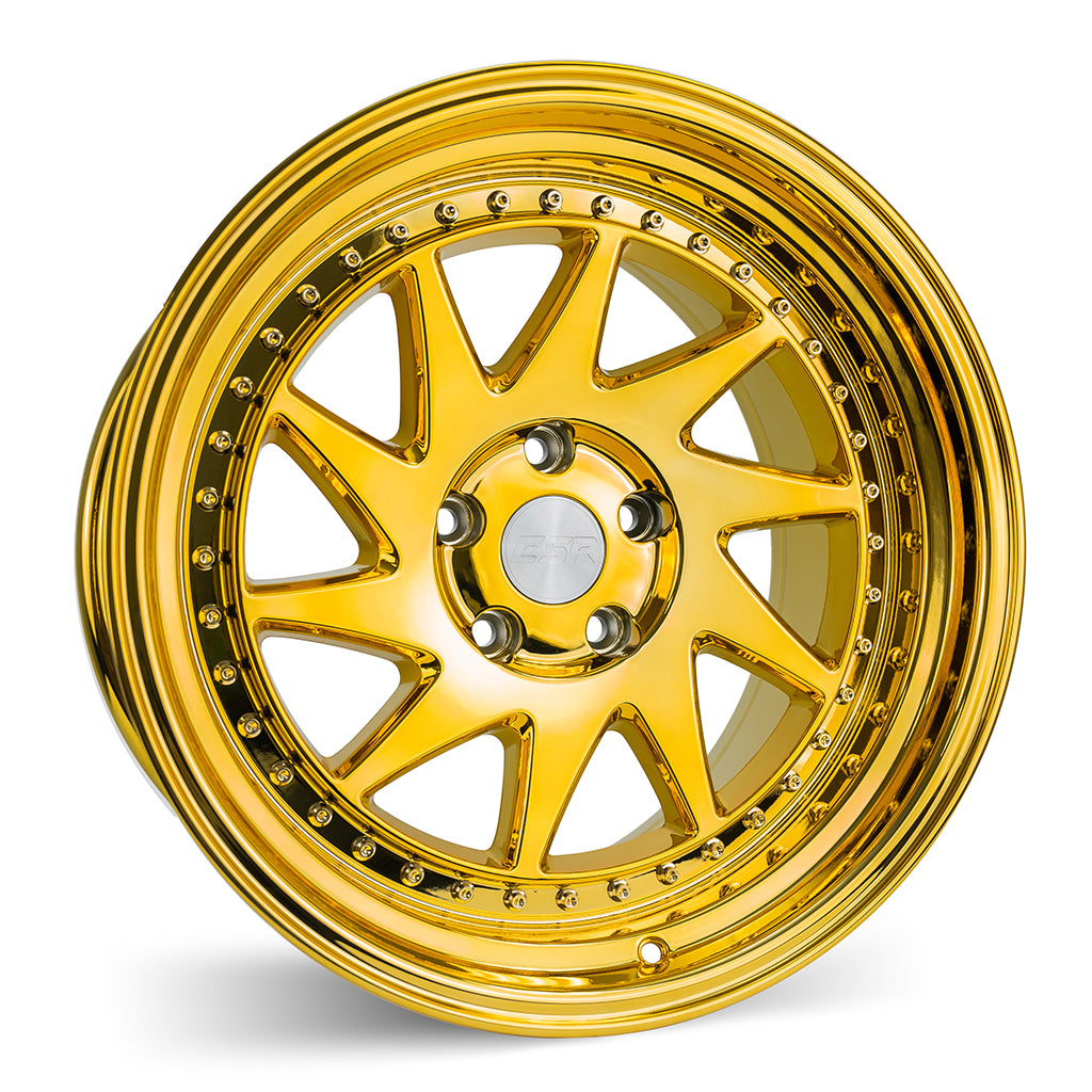 ESR SR09 18X9.5 5X114.3 +35 73.1 VACUUM GOLD CHROME 1 WHEEL/RIM