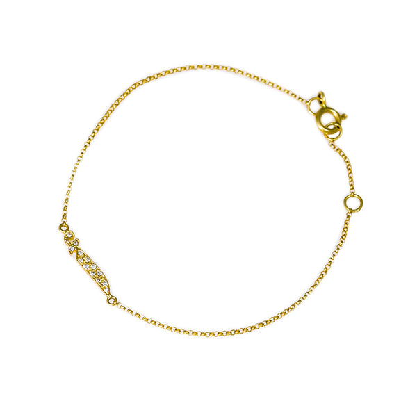 Bil Arabi Single Letter Pave Bracelet