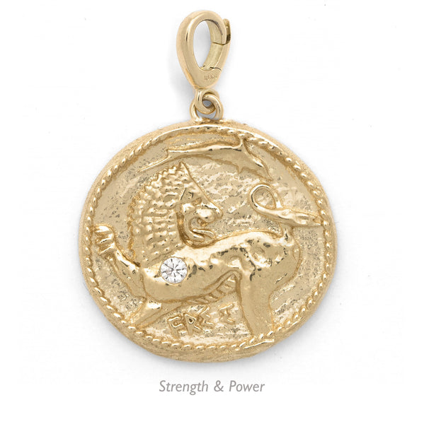 Azlee 18k Large Diamond Coin Pendant