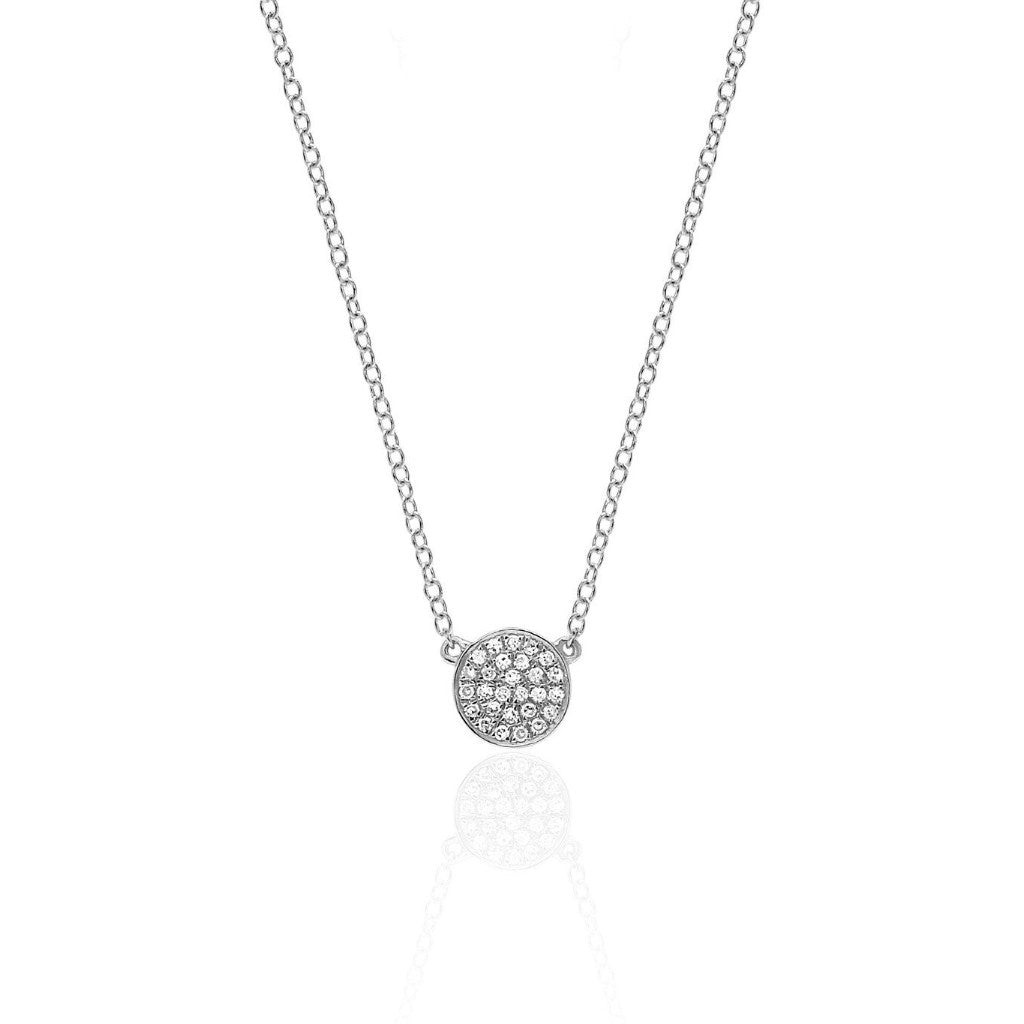 EF Collection 14k Diamond Mini Disc Necklace