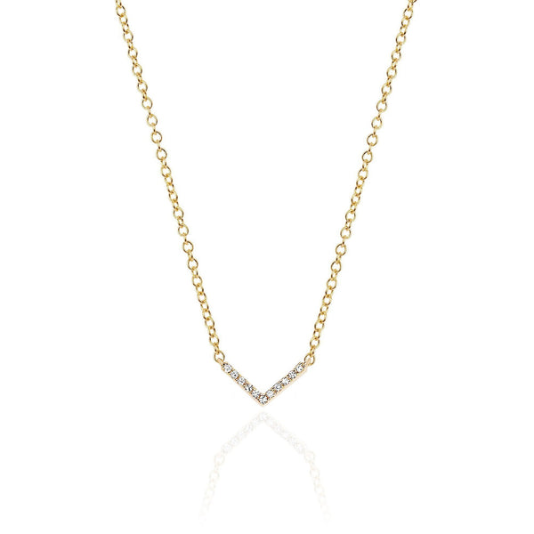 EF Collection 14k Diamond Mini Chevron Necklace