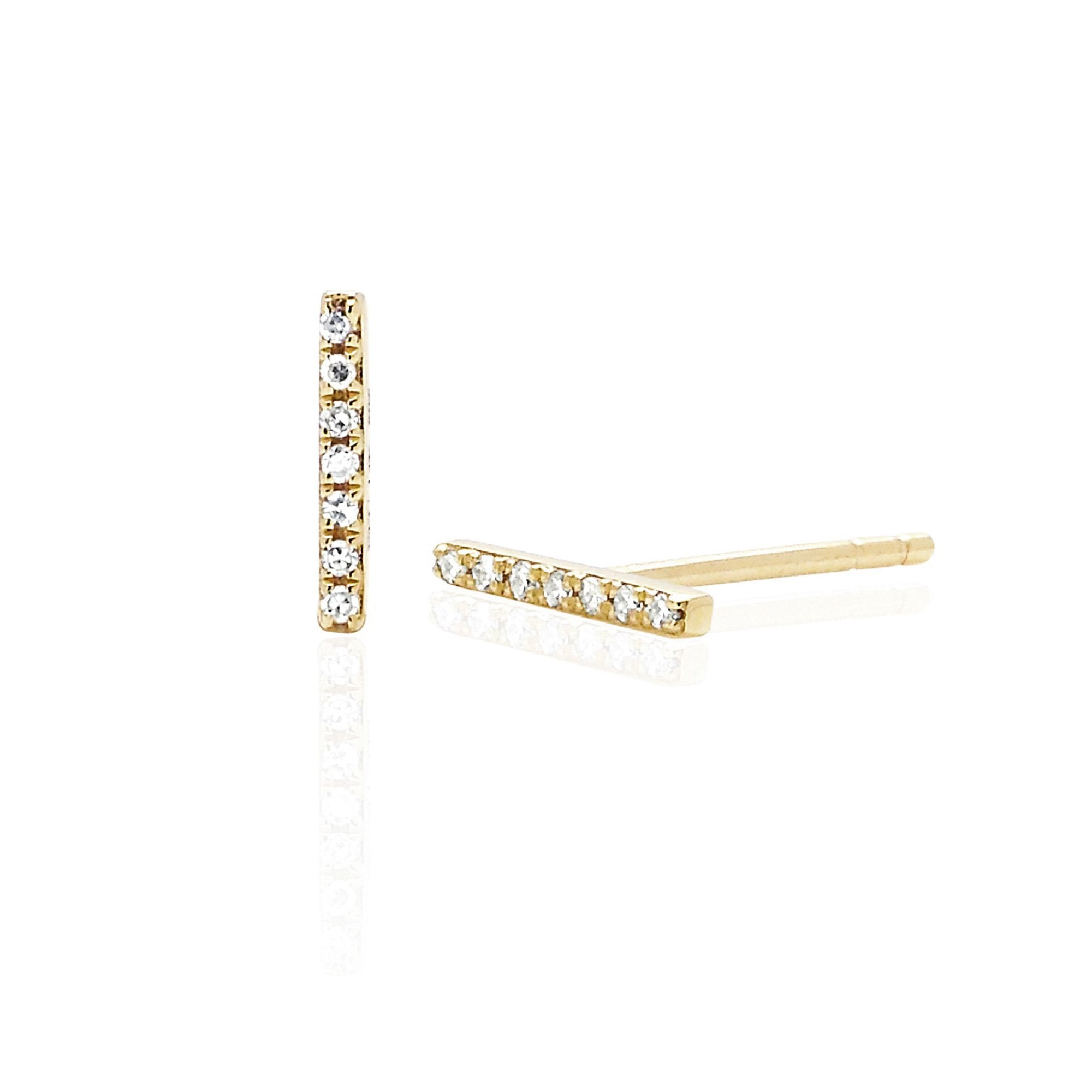 EF Collection 14k Diamond Mini Bar Stud