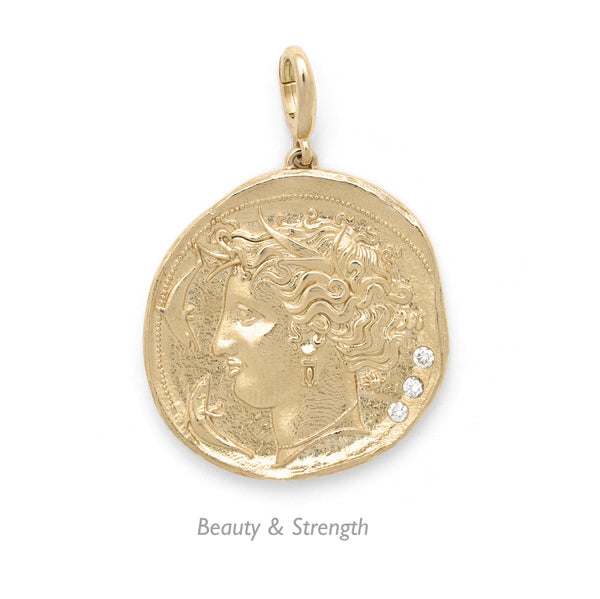Azlee 18k Small Diamond Coin pendant