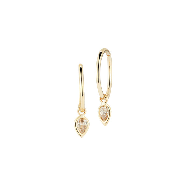 Finn 18k Pair of Hoop Earrings with Grey Diamonds