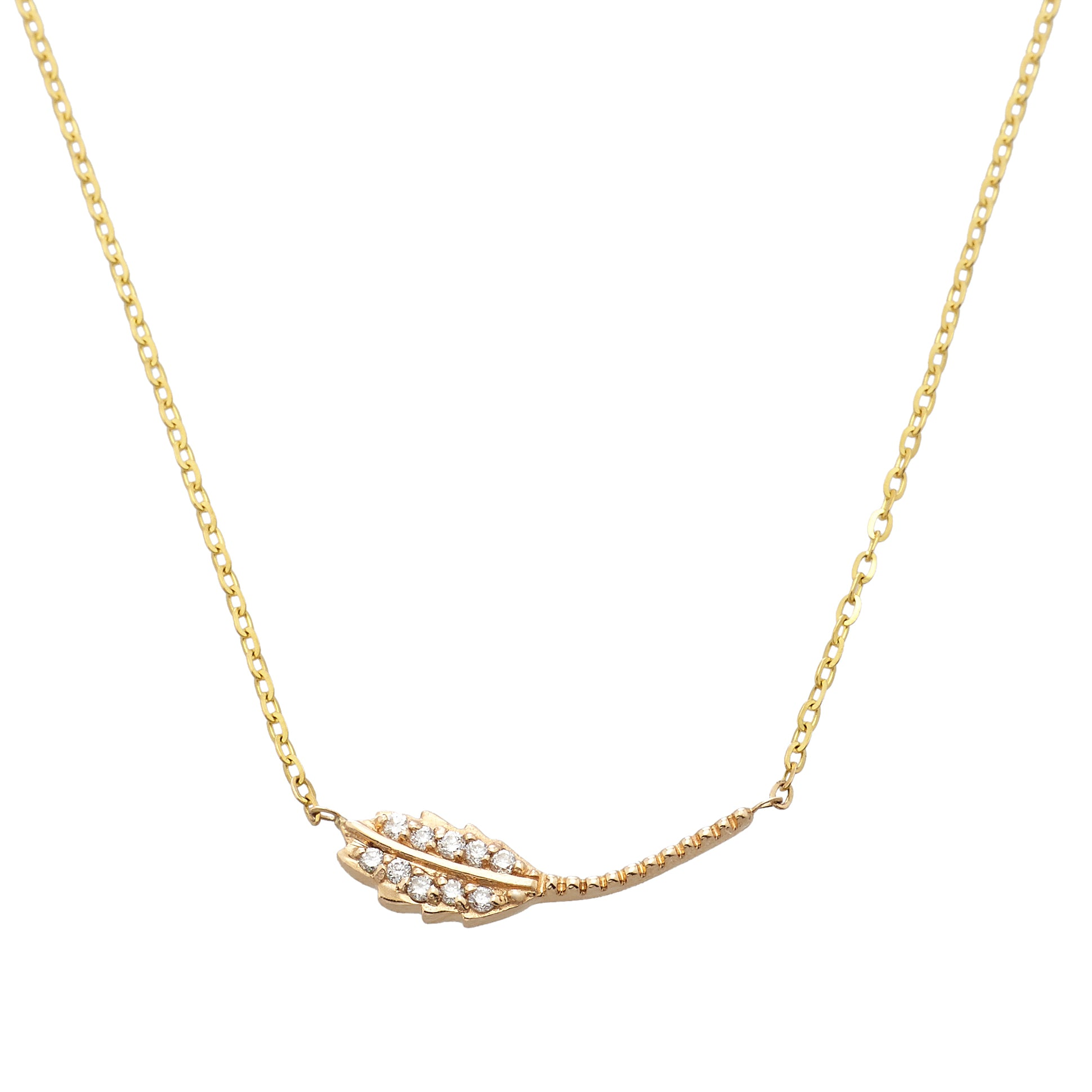 Vale 14k Pave Leaf Necklace