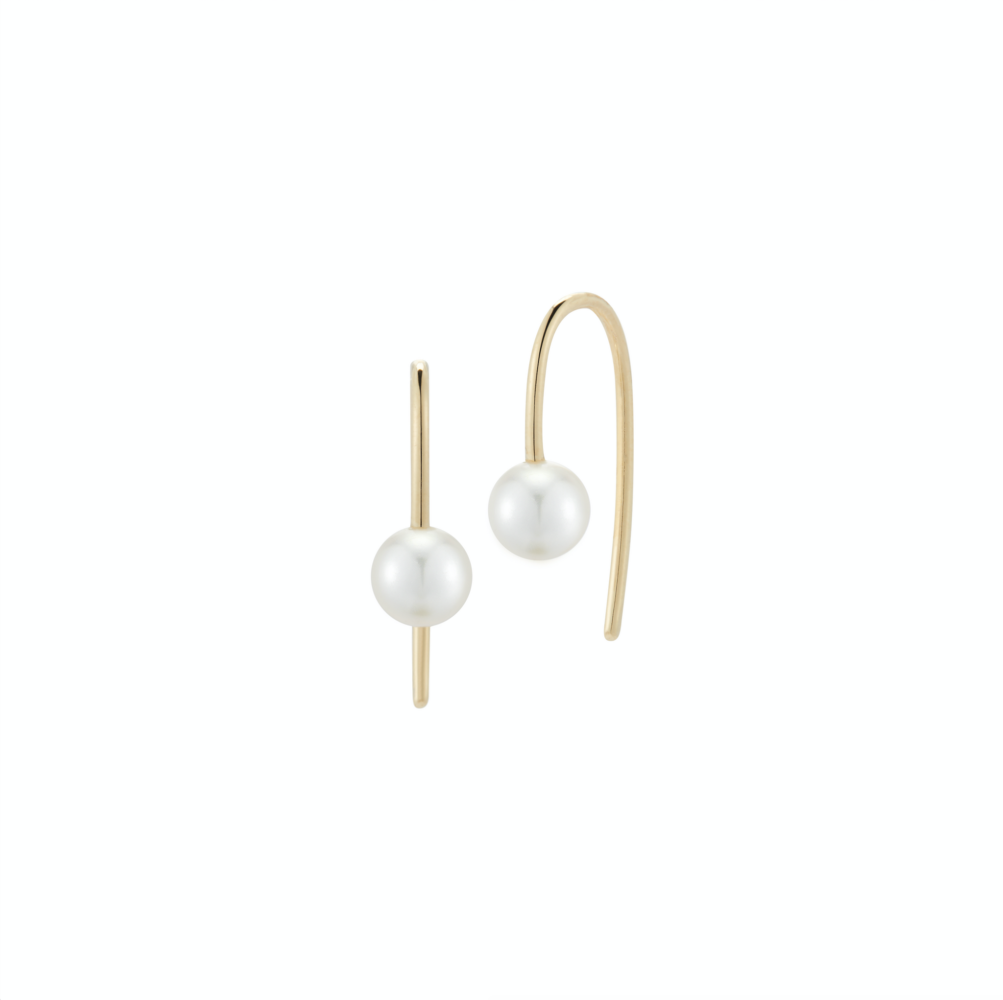 Finn 18k Pair of Akoya Pearl Hook Earrings