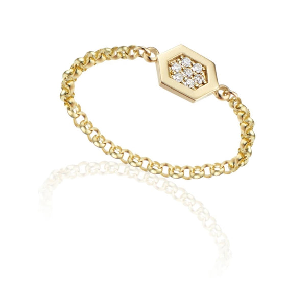 Noor Shamma 18k Luz Chain Ring Diamond