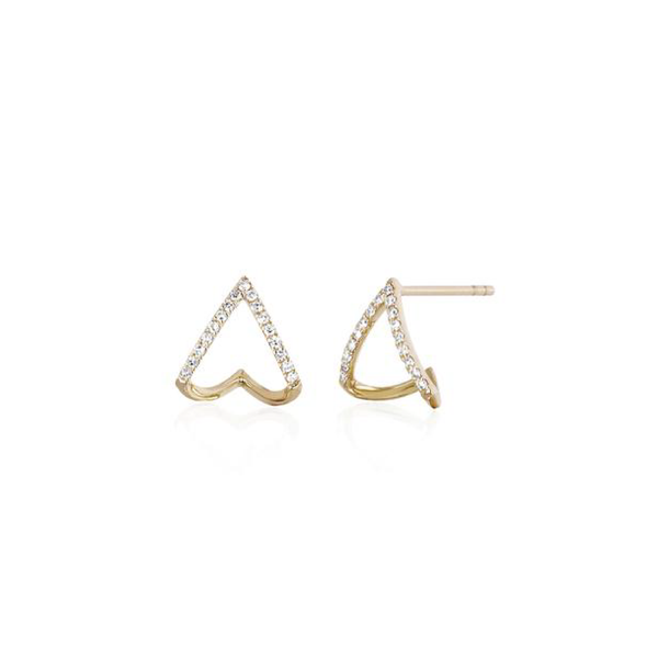 EF Collection 14k Diamond Mini Chevron Wrap Stud