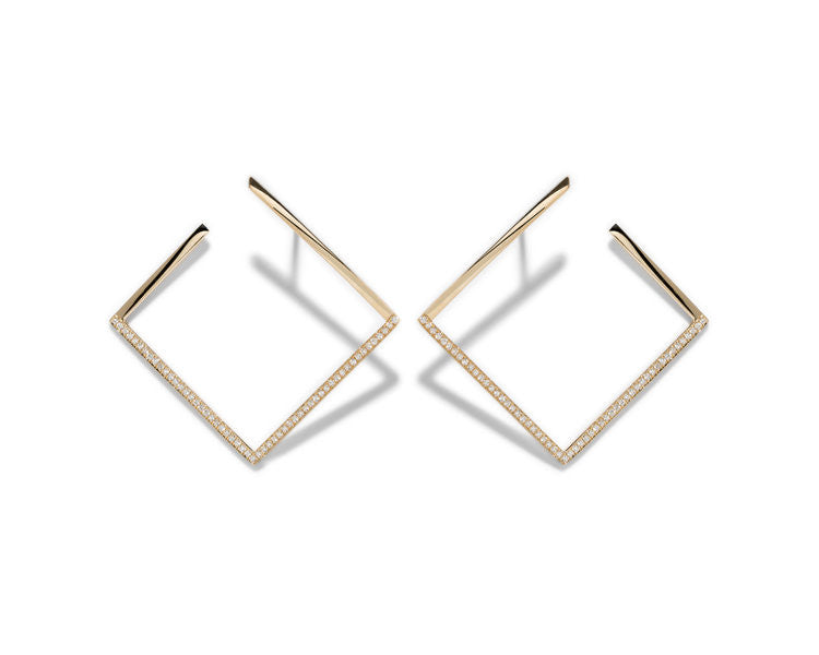 Azlee 18k White Light Pavé Earrings