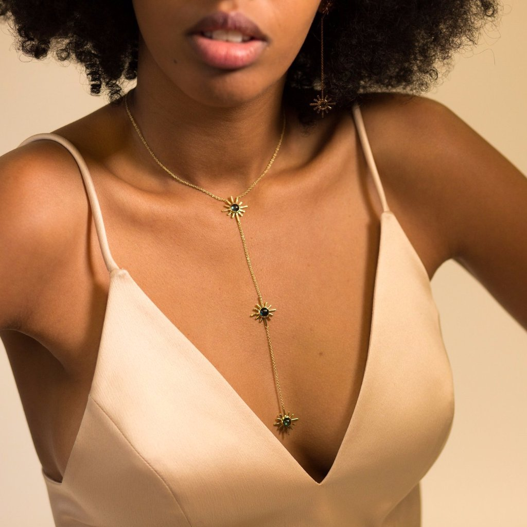 Amaya Jones 14k Pave Sun Reversible Necklace