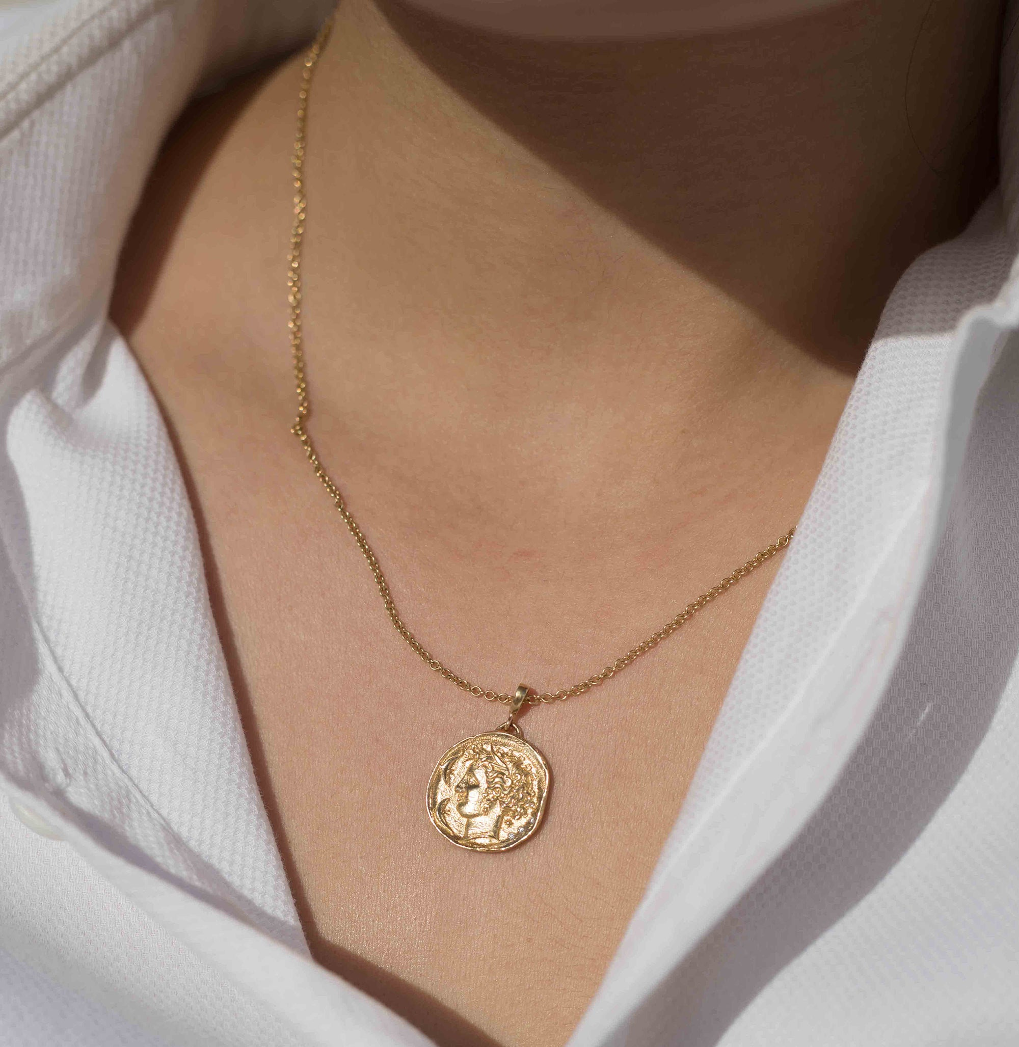 Small Diamond Coin Necklace
