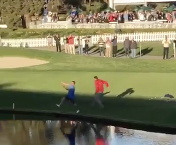 WATCH: Harold Varner III's footage of fan swimming at Torrey Pines!