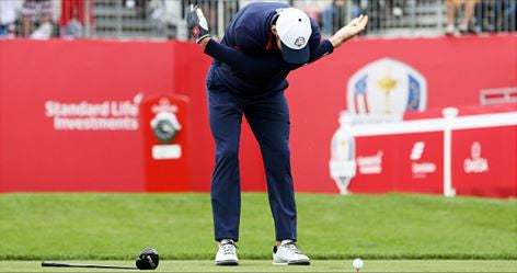 Michael Phelps pulls out famous arm-swing warm up before tee off at Ryder Cup celebrity match!