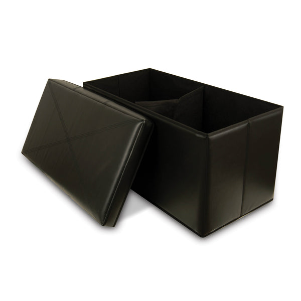 Collapsible Faux-Leather Storage Ottoman Bench