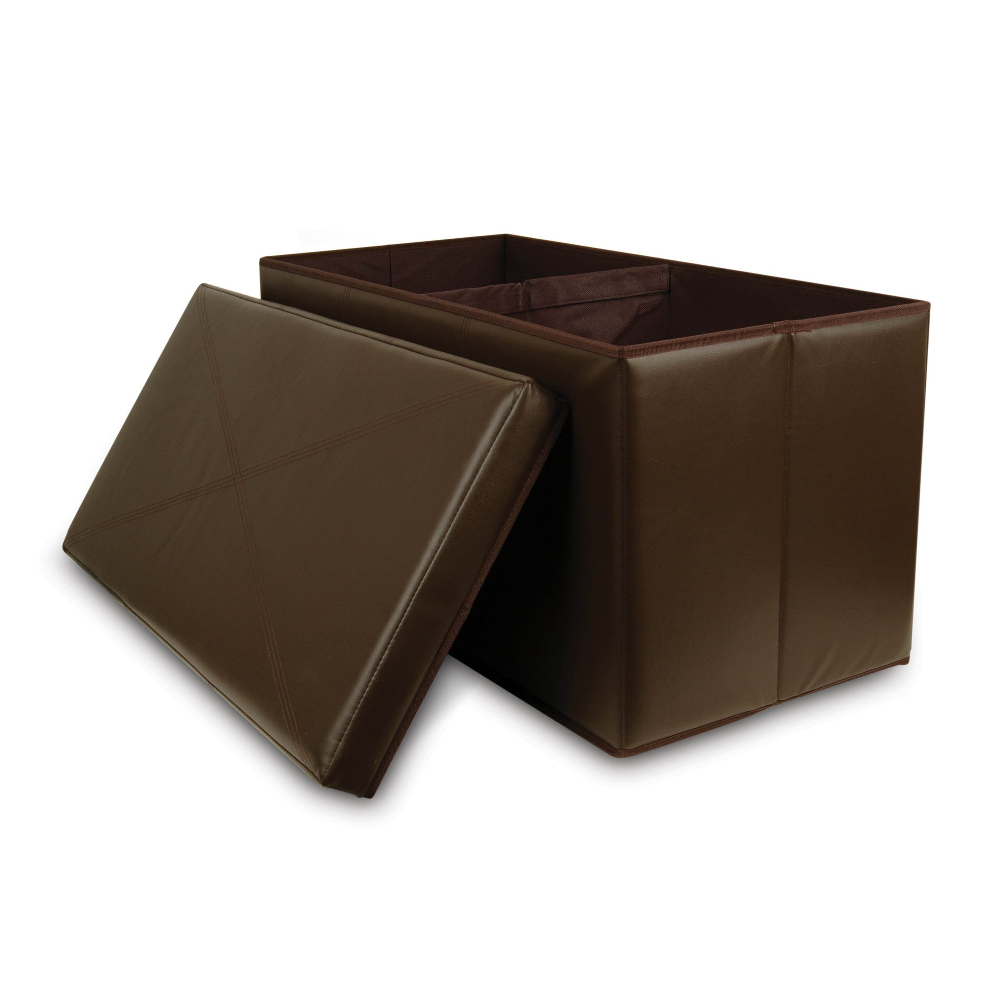 Collapsible Faux Leather Storage Ottoman Bench Bellagio