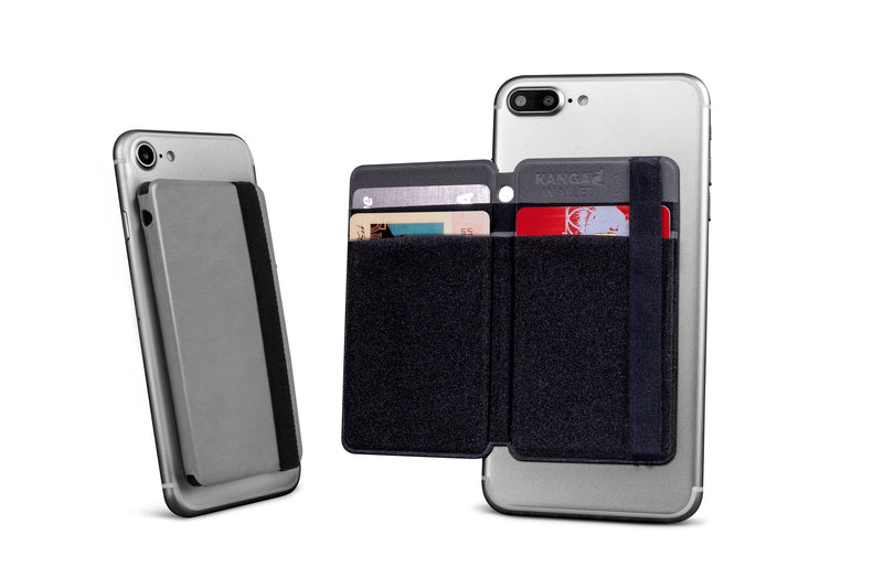 Folding Phone Wallet for Credit Cards and Cash- Gray