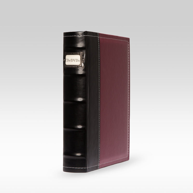 Bellagio-Italia Leather CD/DVD Storage Binder Burgundy - Single