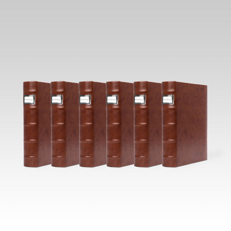 Bellagio-Italia Corona Leather CD/DVD Storage Binder Caffe- 6-Pack