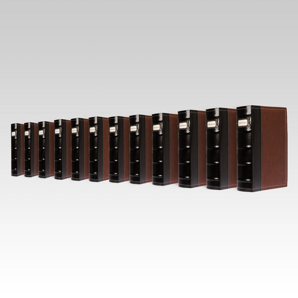 Bellagio-Italia Leather CD/DVD Storage Binder Brown 12-Pack