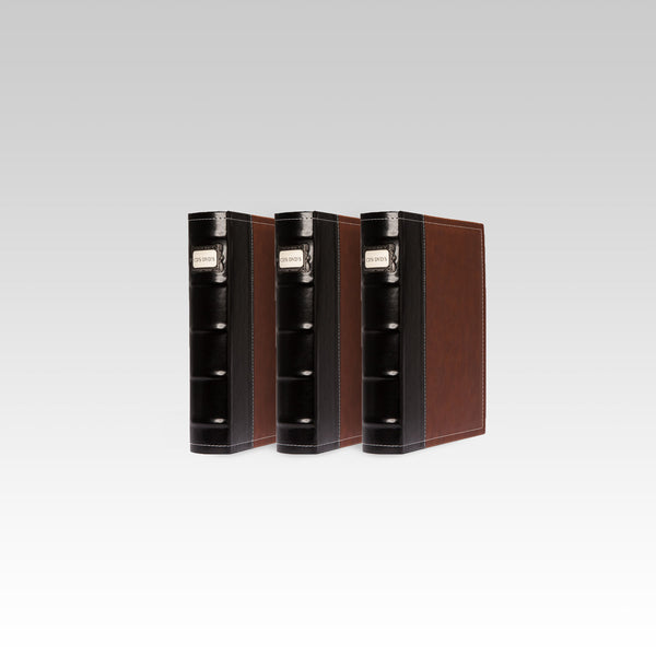 Bellagio-Italia Leather CD/DVD Storage Binder Brown 3-Pack