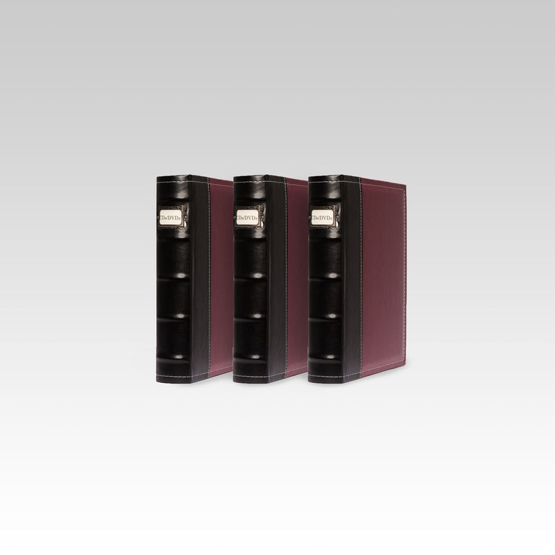 Bellagio-Italia Leather CD/DVD Storage Binder Burgundy 3-Pack