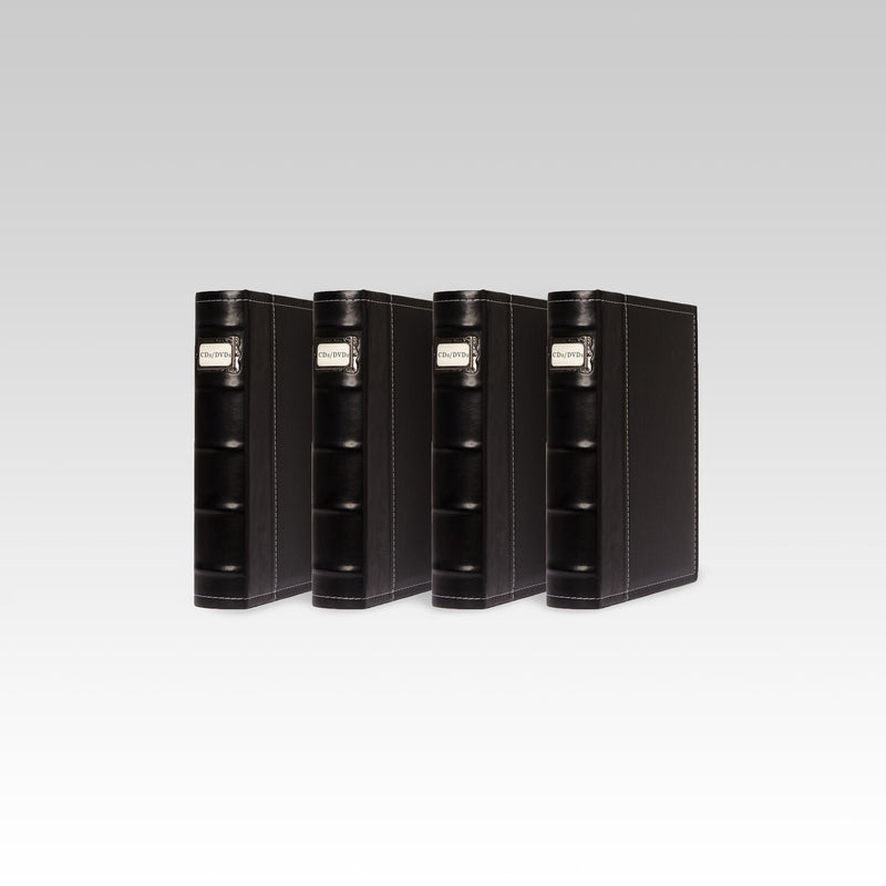 Bellagio-Italia Leather CD/DVD Storage Binder Black 4-Pack