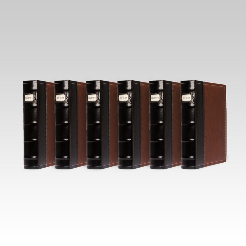 Bellagio-Italia Leather CD/DVD Storage Binder Brown 6-Pack
