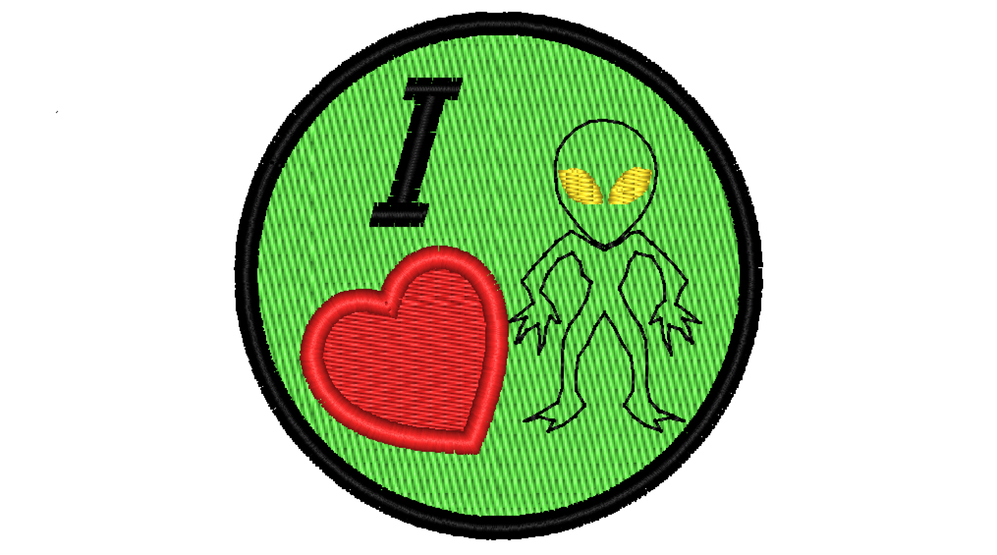 "Patch Craft - I love Aliens -(2.75"" Round, Iron On)"