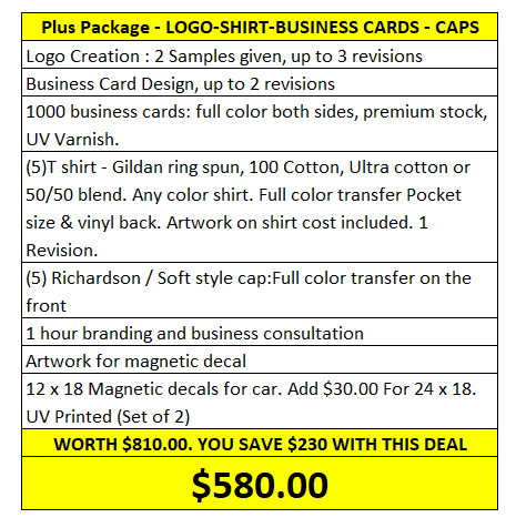 Plus Package - Dawson Design. Logo, Shirt, Business Cards, Caps