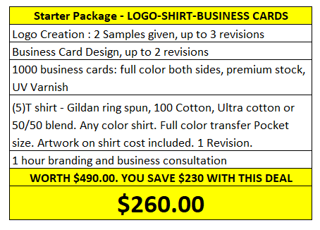 Starter Package Dawson Design, Logo, Shirt, Business Cards