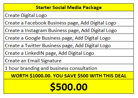 Starter Social Media Package, Facebook, Logo, Instagram, Google, Twitter, LinkedIN, Email Signature