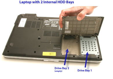 Laptop with 2 internal HDD bays