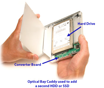 Optical Bay Caddy used to add a second hard disk drive or solid state drive