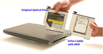 Original optical drive and drive caddy with hard drive disk