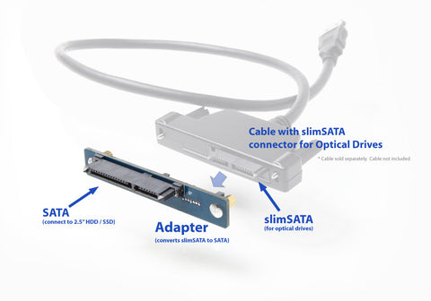 Adapter, covert slimLine / slimSATA (optical drive) to SATA HD - Newmode Electronics