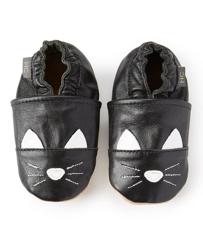 Leather Black Cat Infant Shoe