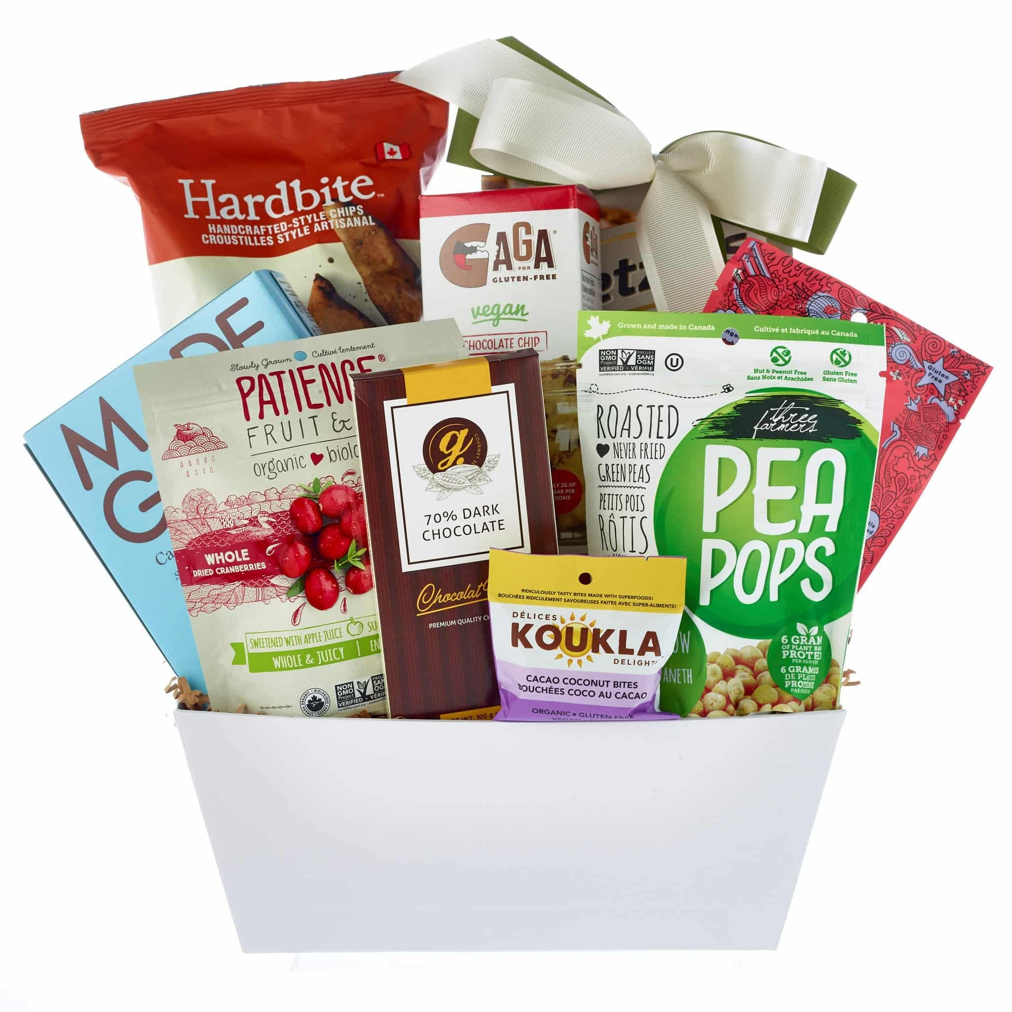 Healthy chips, chocolates, cookies gift basket