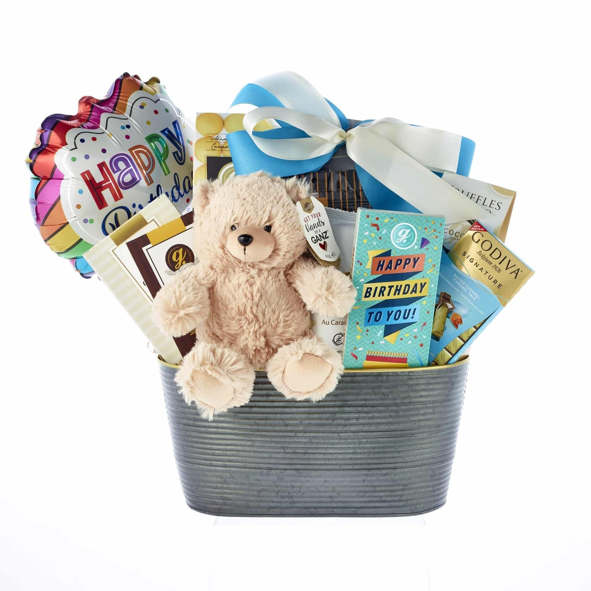 Birthday hamper with plush, treats and balloon
