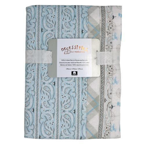 Baby Boy Receiving Blankets 4 Pack Set
