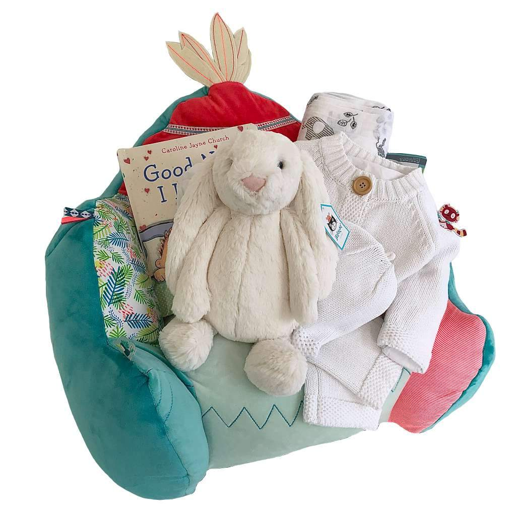 Baby chair, reading book and bunny plush