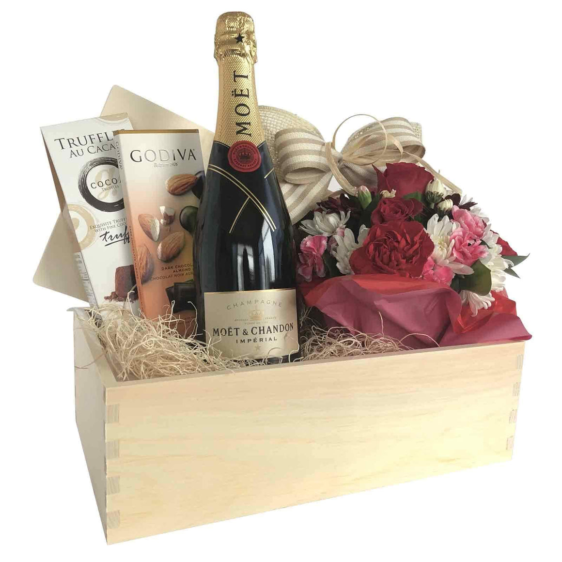 Champagne With Flower Gift Box