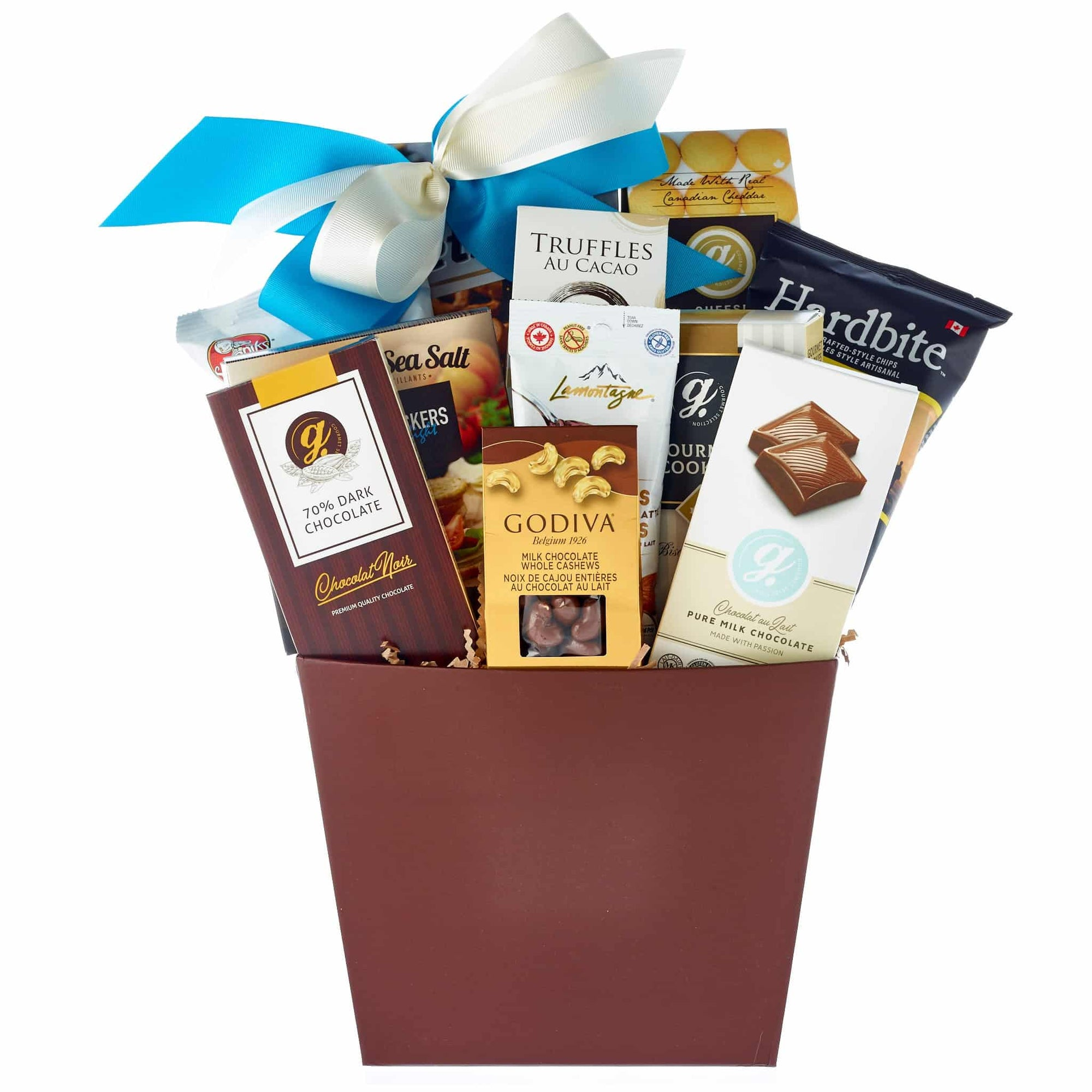 Chocolates, crackers, chips gourmet gift basket