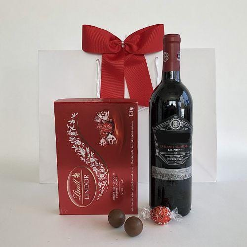 Beringer red wine and Lindt chocolates