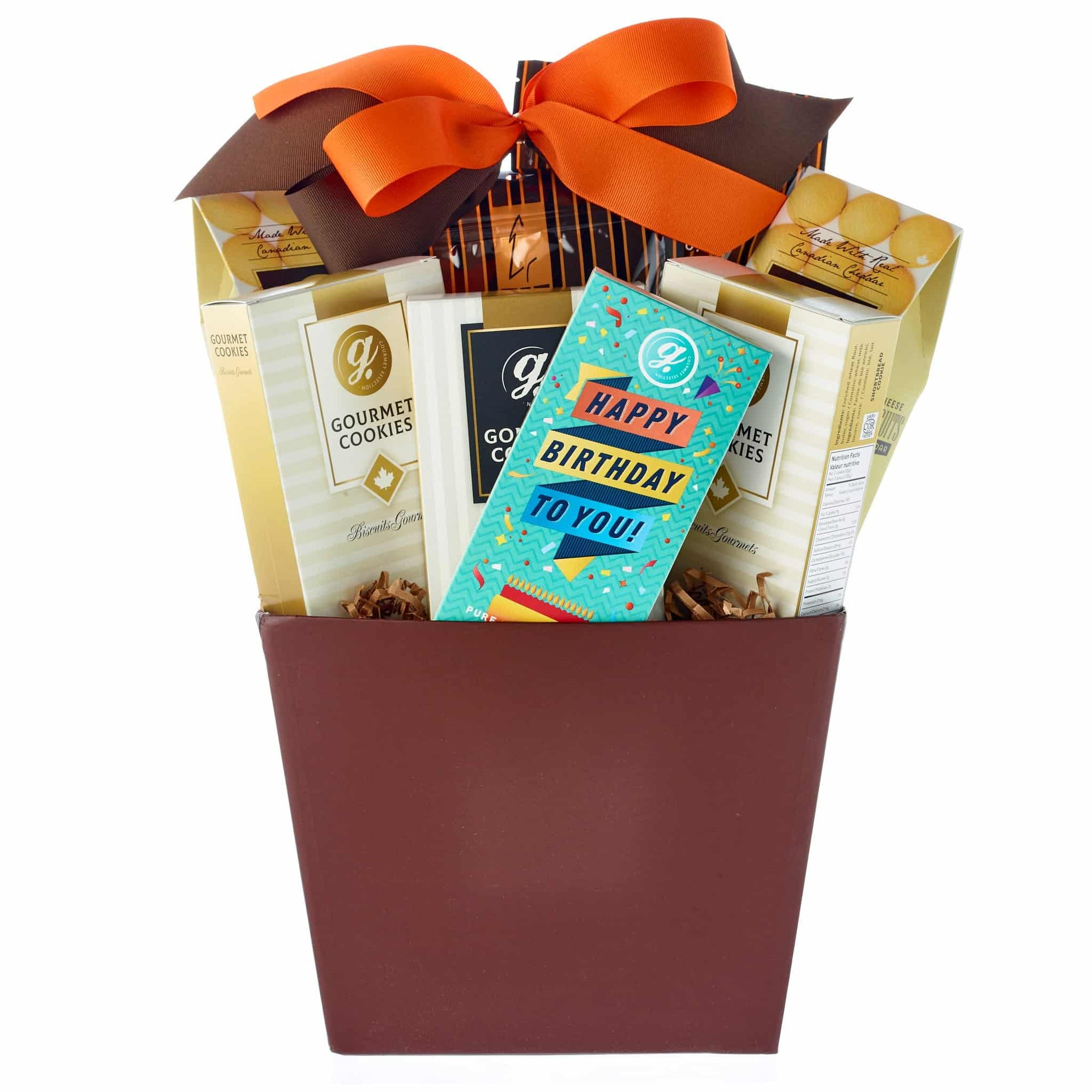Small birthday cookie gift basket with assorted biscuits.