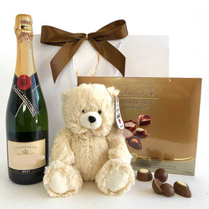 Moet French Champagne, bear plush, lindt chocolate delivery