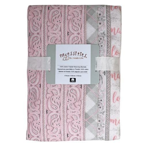 Baby Girl 4 Pack Set Receiving Blankets