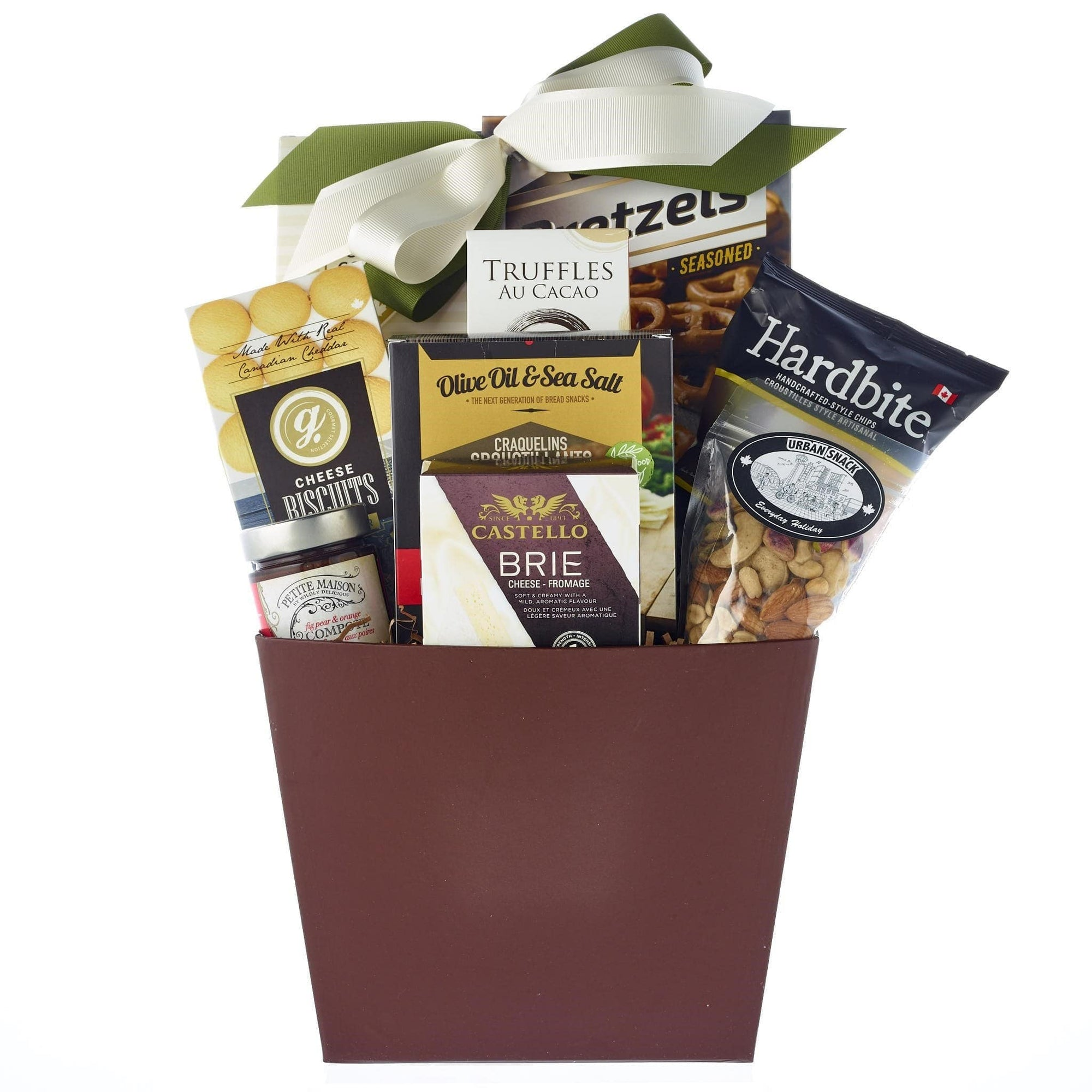 cheese, cookies, compote gift basket