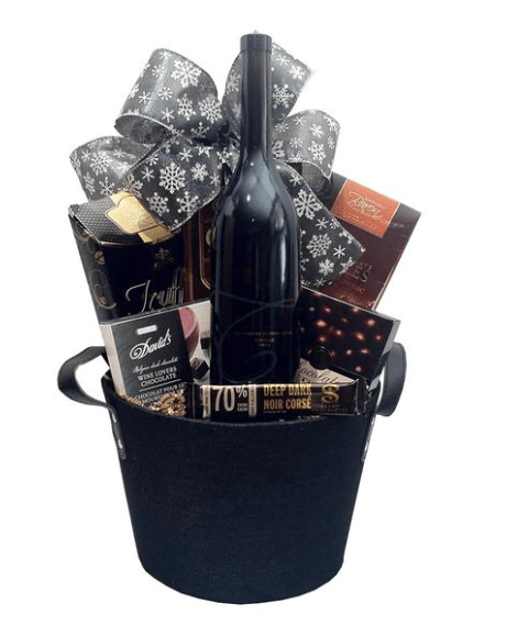 Sympathy baskets with red wine