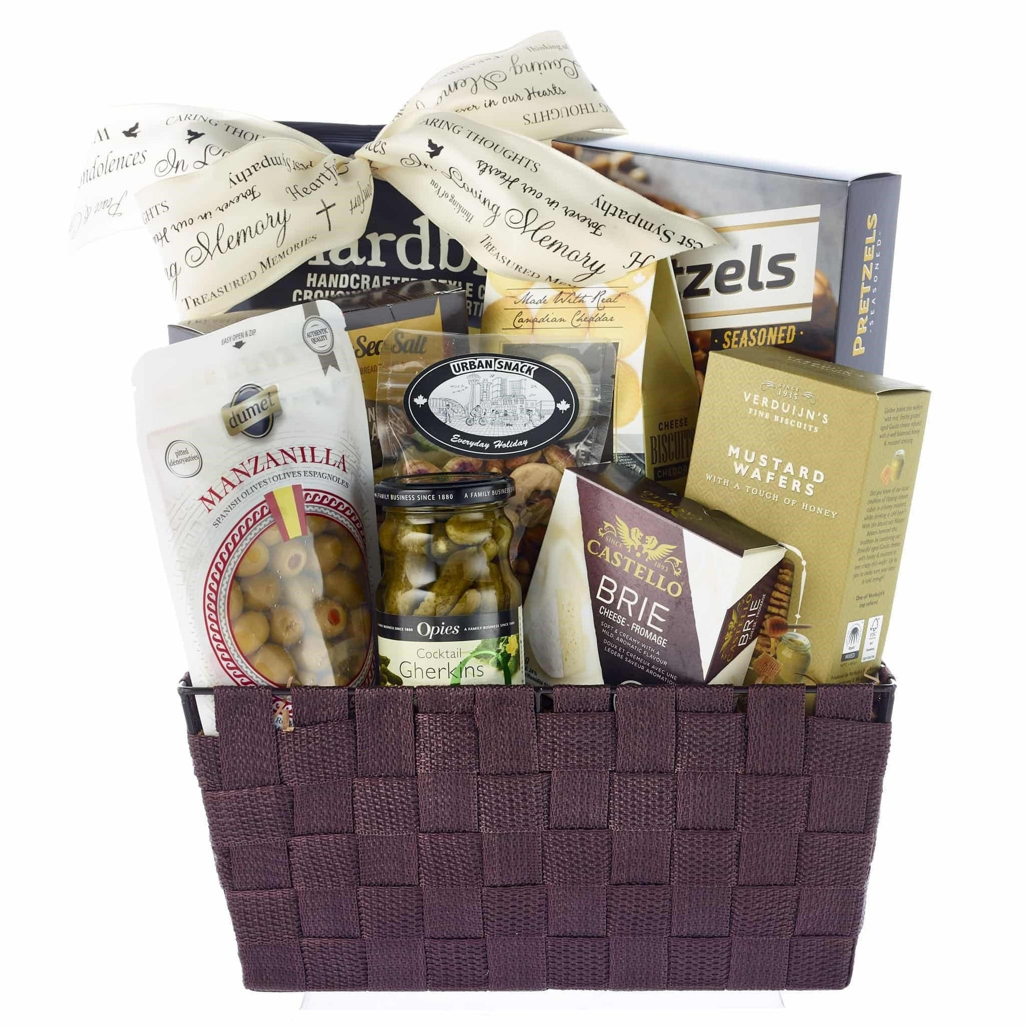 Cheese, crackers, olives, sympathy gift