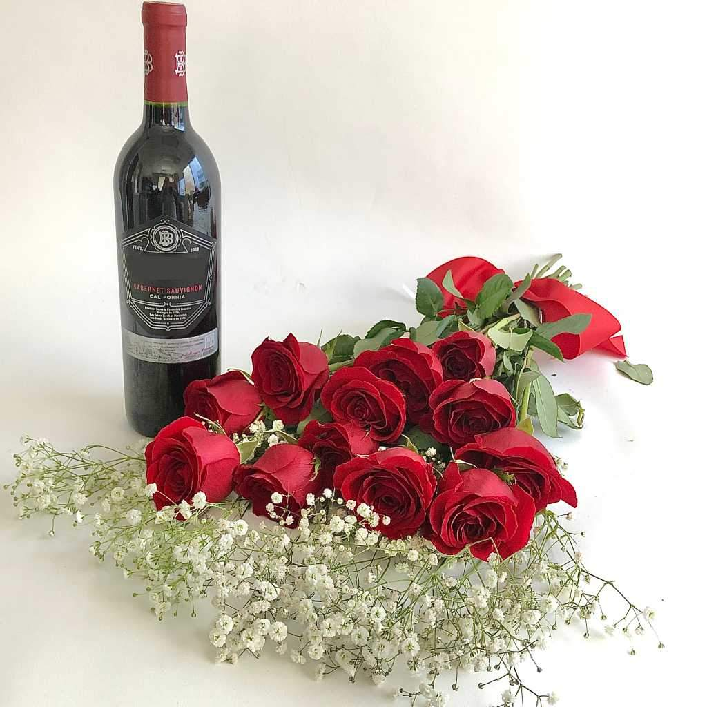Beringer Cabernet Sauvignon and red roses